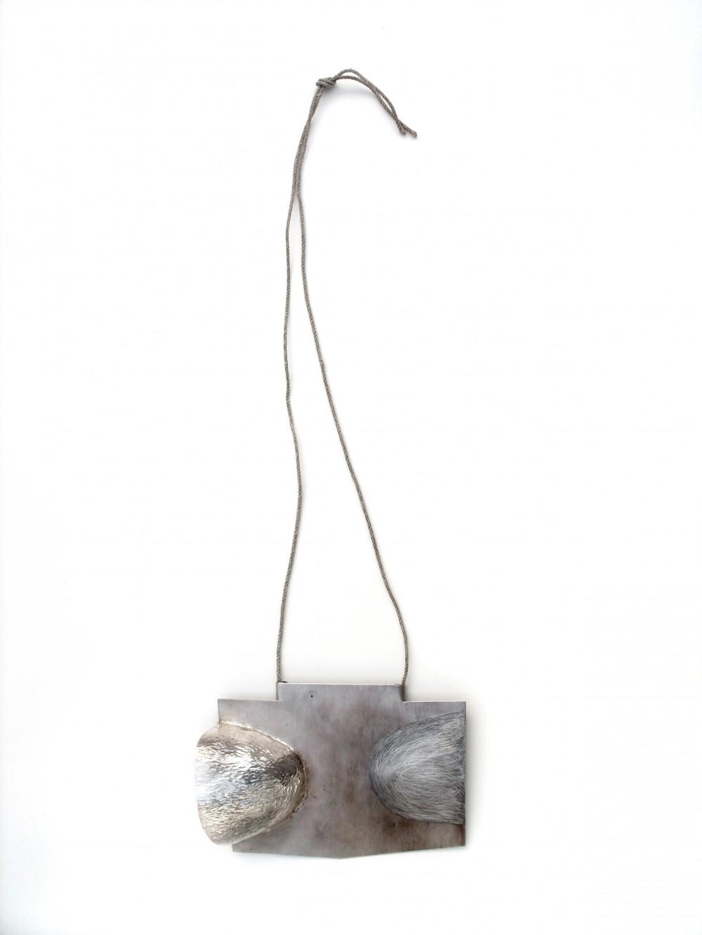 Neckpiece, silver, hempthread, 14 cm x 30 cm, Klara Brynge